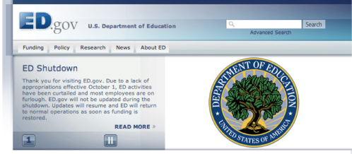 The department of education is also shut down.