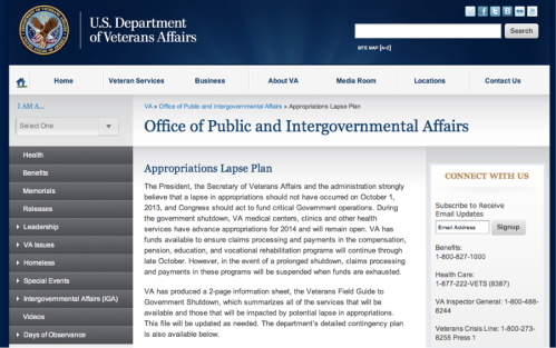 "Department of Veterans Affairs: ""The President, the Secretary of Veterans Affairs and the administration strongly believe that a lapse in appropriations should not have occurred on October 1, 2013"""