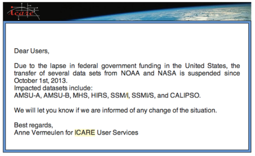 A message from Centre National d'Etudes Spatiales (CNES), the French space agency. The shutdown of US government is having impacts in countries outside of the US.