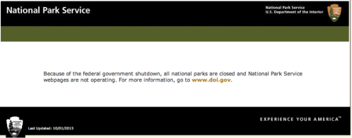 The National Parks are closed.