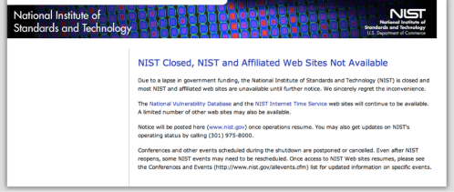 The National Institute of Standards (that place that oversees the atomic clock as well as other cool research) is closed.